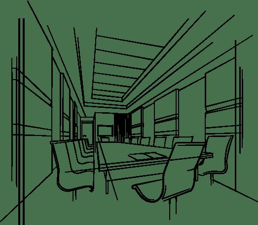 dessin plan intérieur maison bois