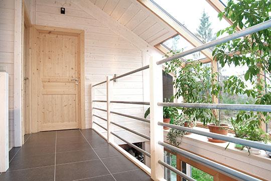 mezzanine maison en rondin de bois - Maison Bois'art