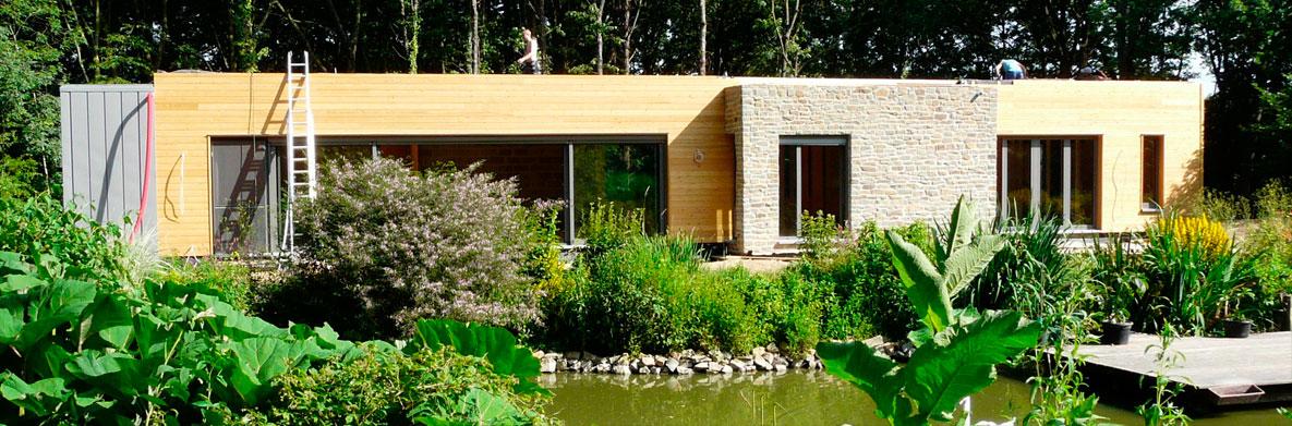 extérieur construction maison de bois Morbihan - Maison Bois'art