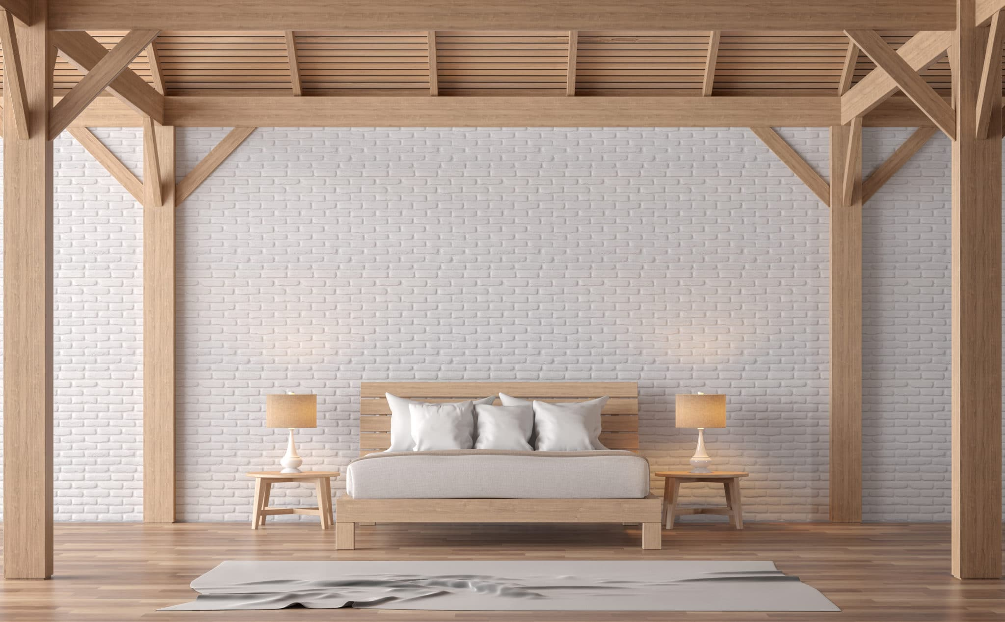 Loft style bedroom 3d rendering image.There are white brick wall,wood floor and wood structure.Furnished with wooden bed